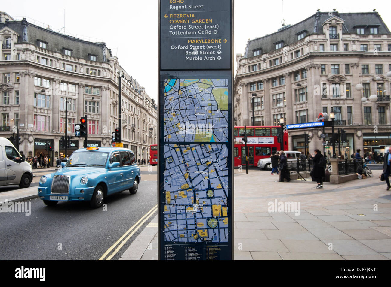 Street sign showing a map of where you are at Oxford Circus and