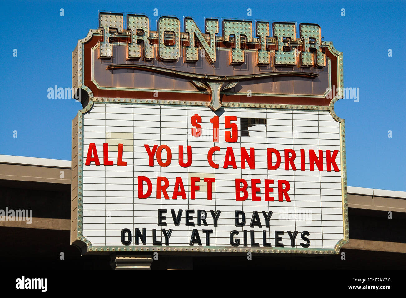 New Frontier Hotel Sign On Las Vegas Boulevard Advertising Cheap Beer