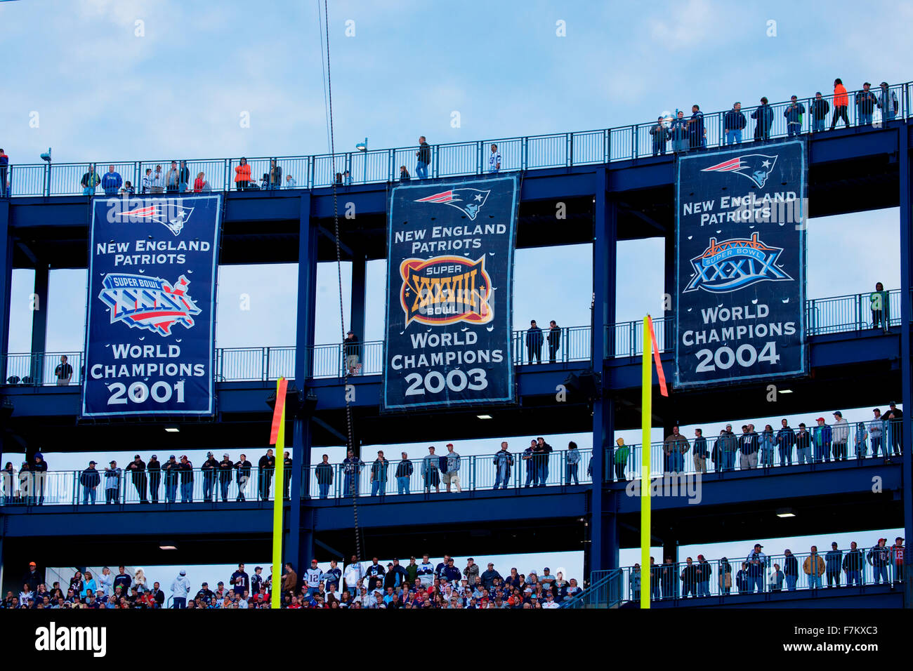 super bowl champion banners at gillette stadium new england