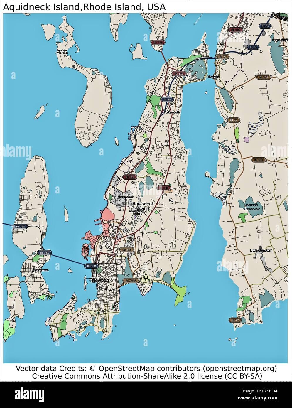 Aquidneck Rhode Island USA island city map Stock Photo Royalty