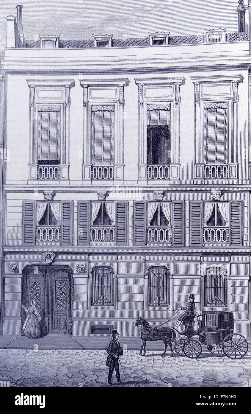 Illustration Of 19th Century French Architecture Outside The Building Is A Horse And Cart Driving Down Cobbled Street Dated