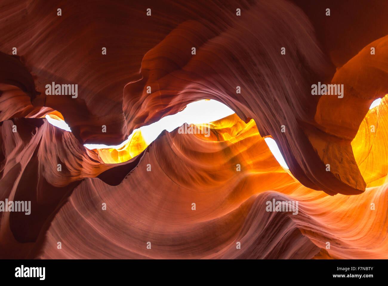Inside Lower Antelope Canyon near Page Arizona Stock Photo