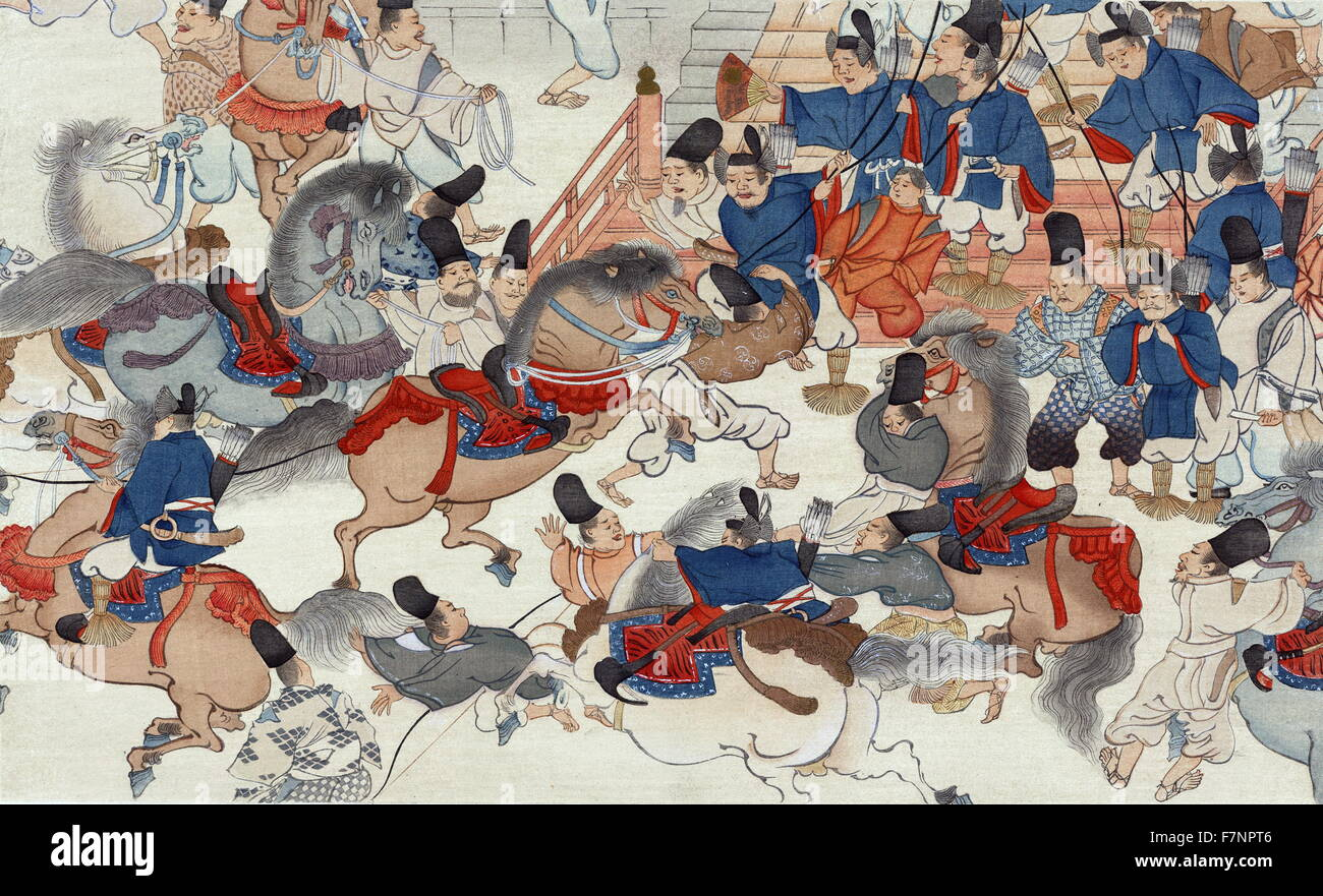 the horse show battle in front of a palace print shows a