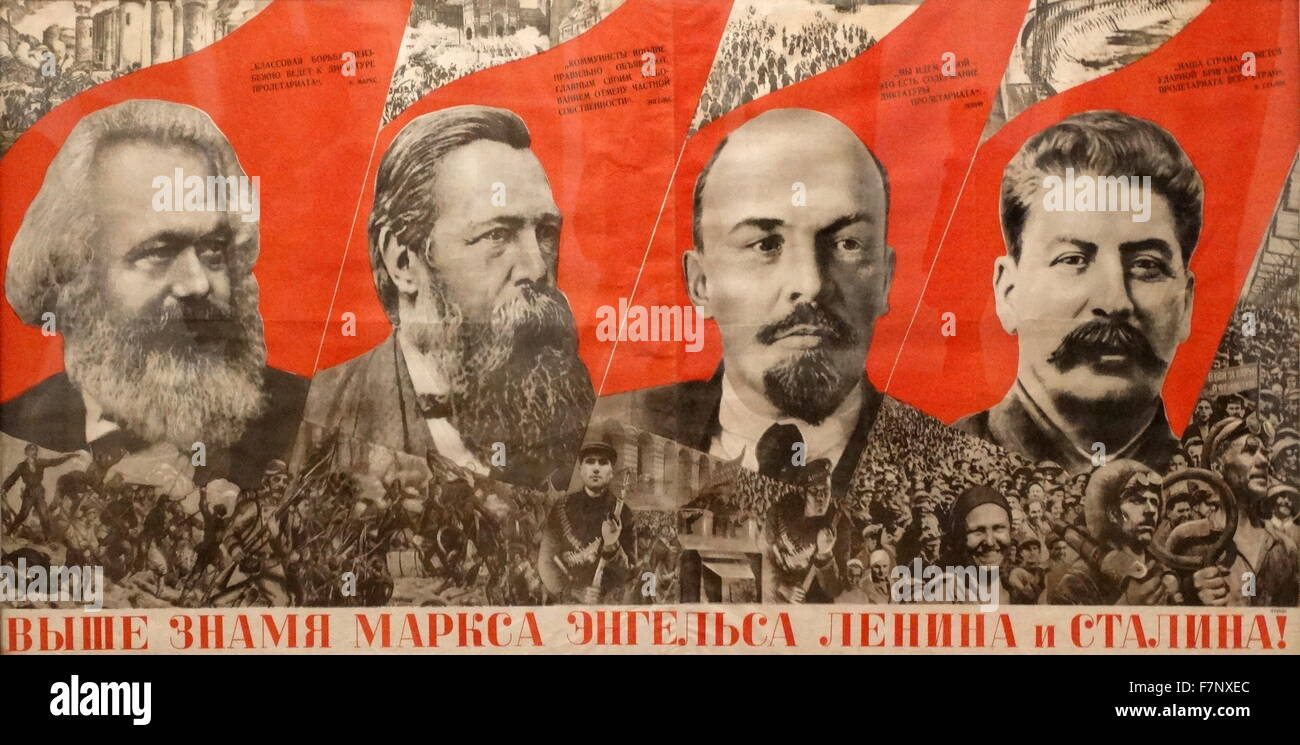 Marx, Engels, Lenin, Stalin flag more high! ' Soviet ...