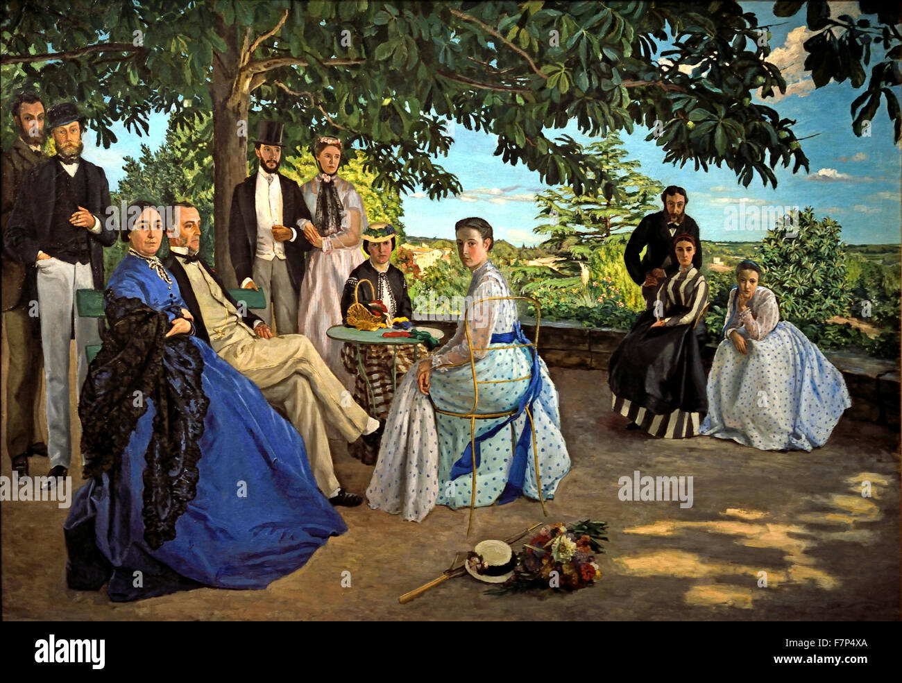 r union de famille family meeting 1867 fr d ric bazille 1841 1870 stock photo royalty free. Black Bedroom Furniture Sets. Home Design Ideas