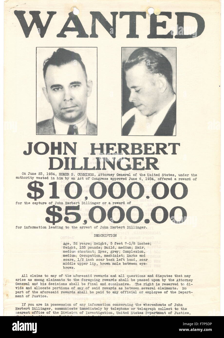 Superb Wanted Poster For John Herbert Dillinger (1903 1934) American Gangster In  The Depression Era United States. Dated 1934  Criminal Wanted Poster