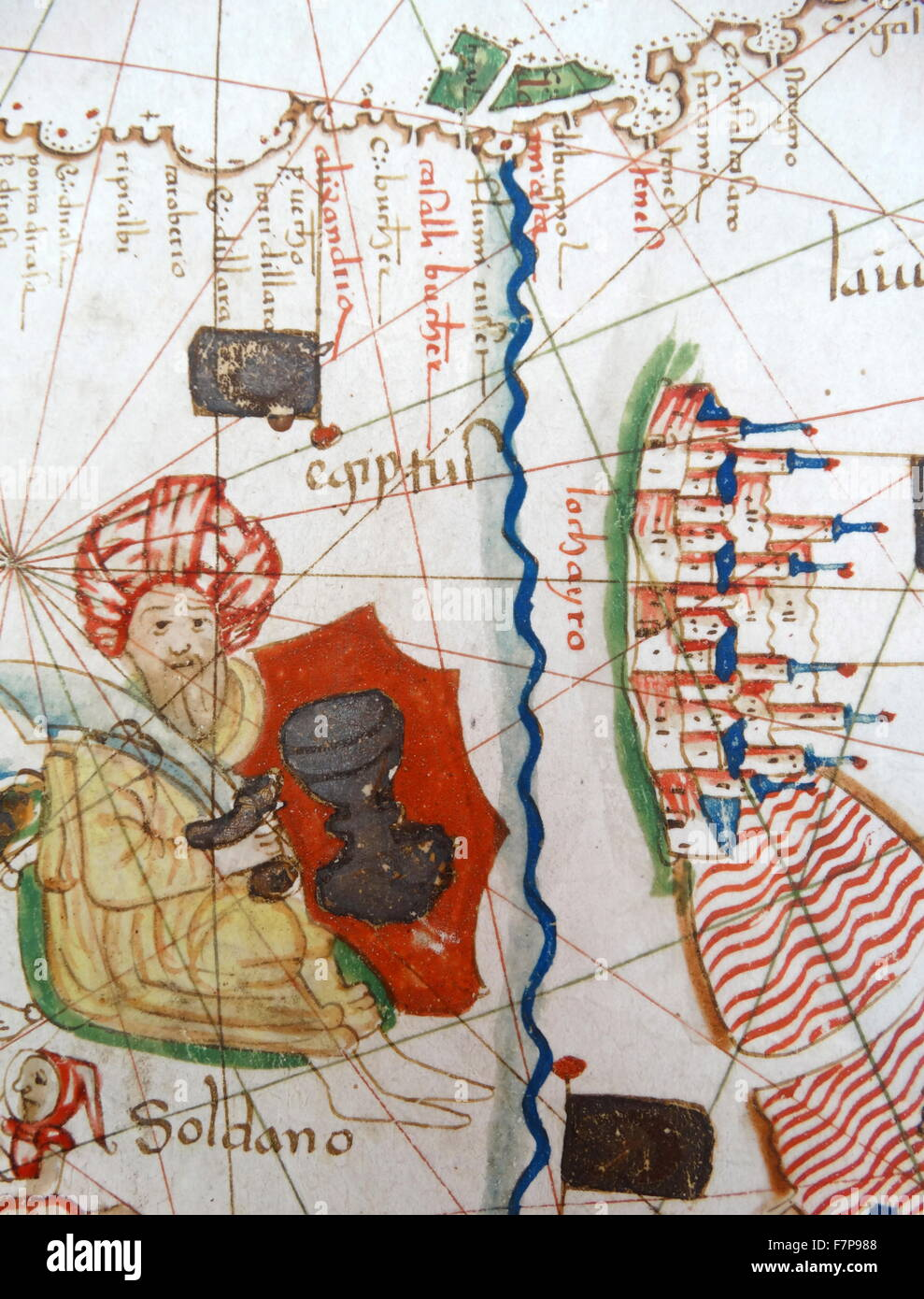 Renaissance map of Europe Jacopo Russo 1528 detail showing the