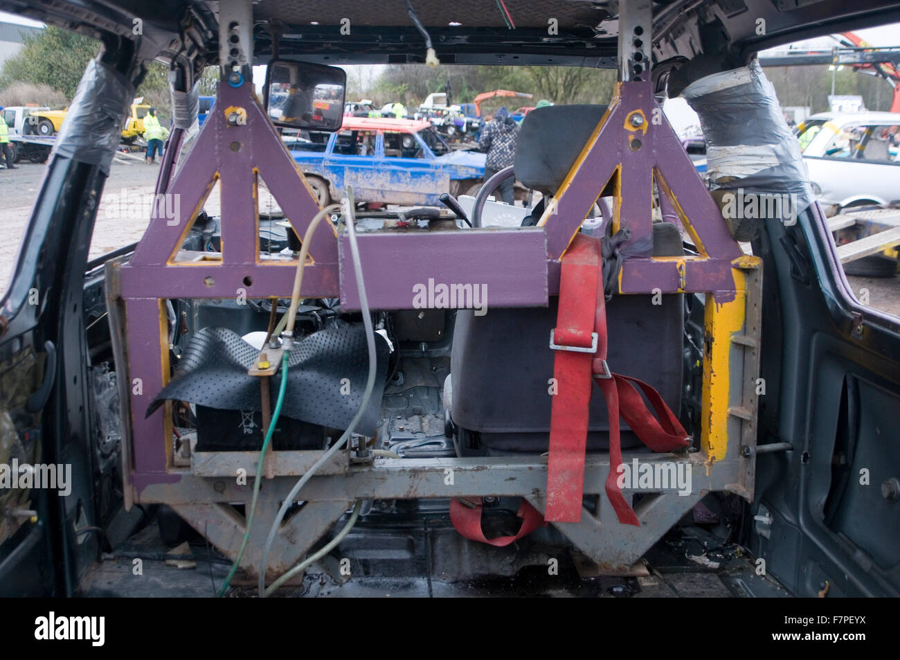 stock photo roll cage rollcage cages rollcages h frame in a banger racing car cars stock demolition derby derbies destruction race races mot