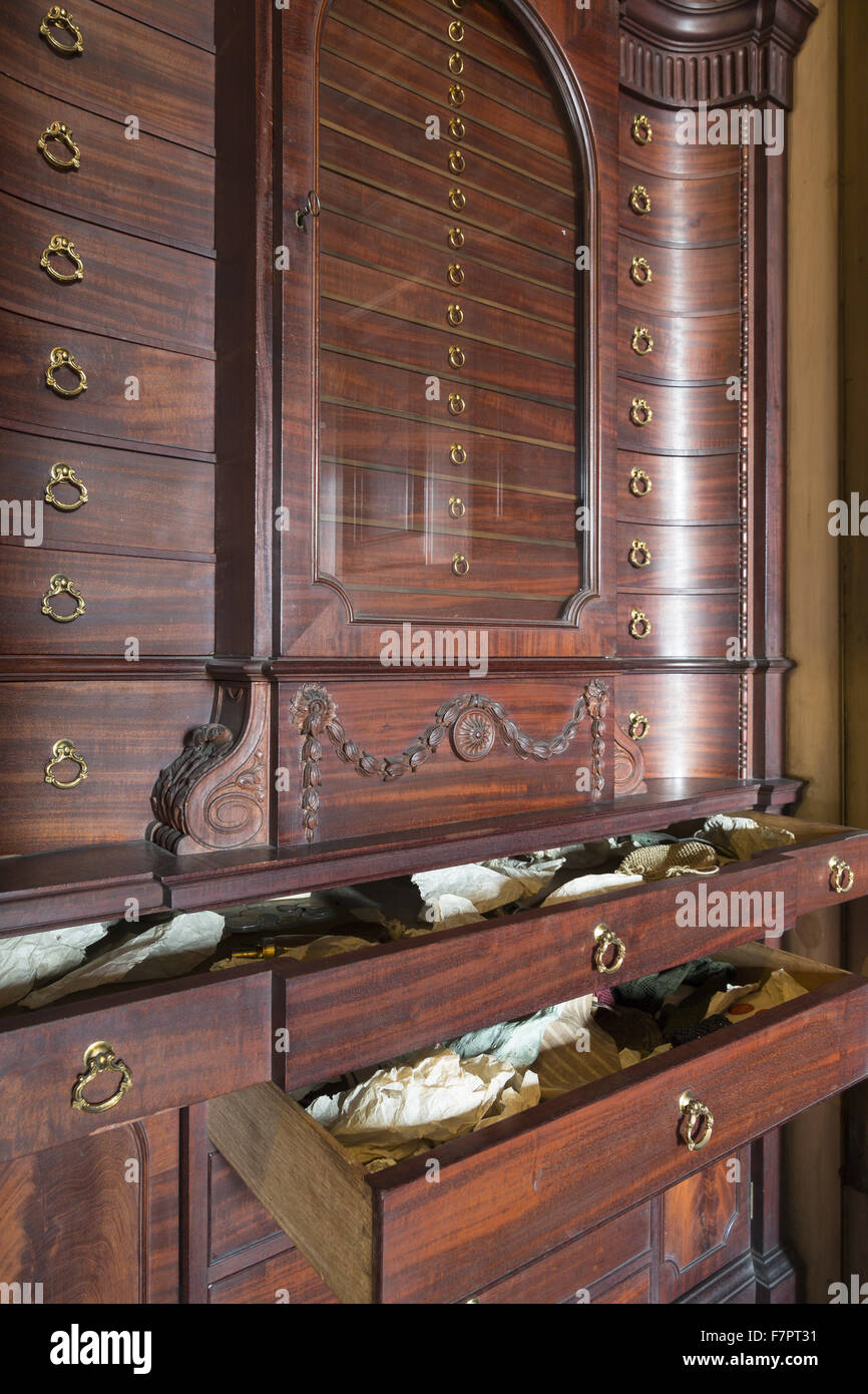 Detail of a medal cabinet in the Library at Nostell Priory and ...
