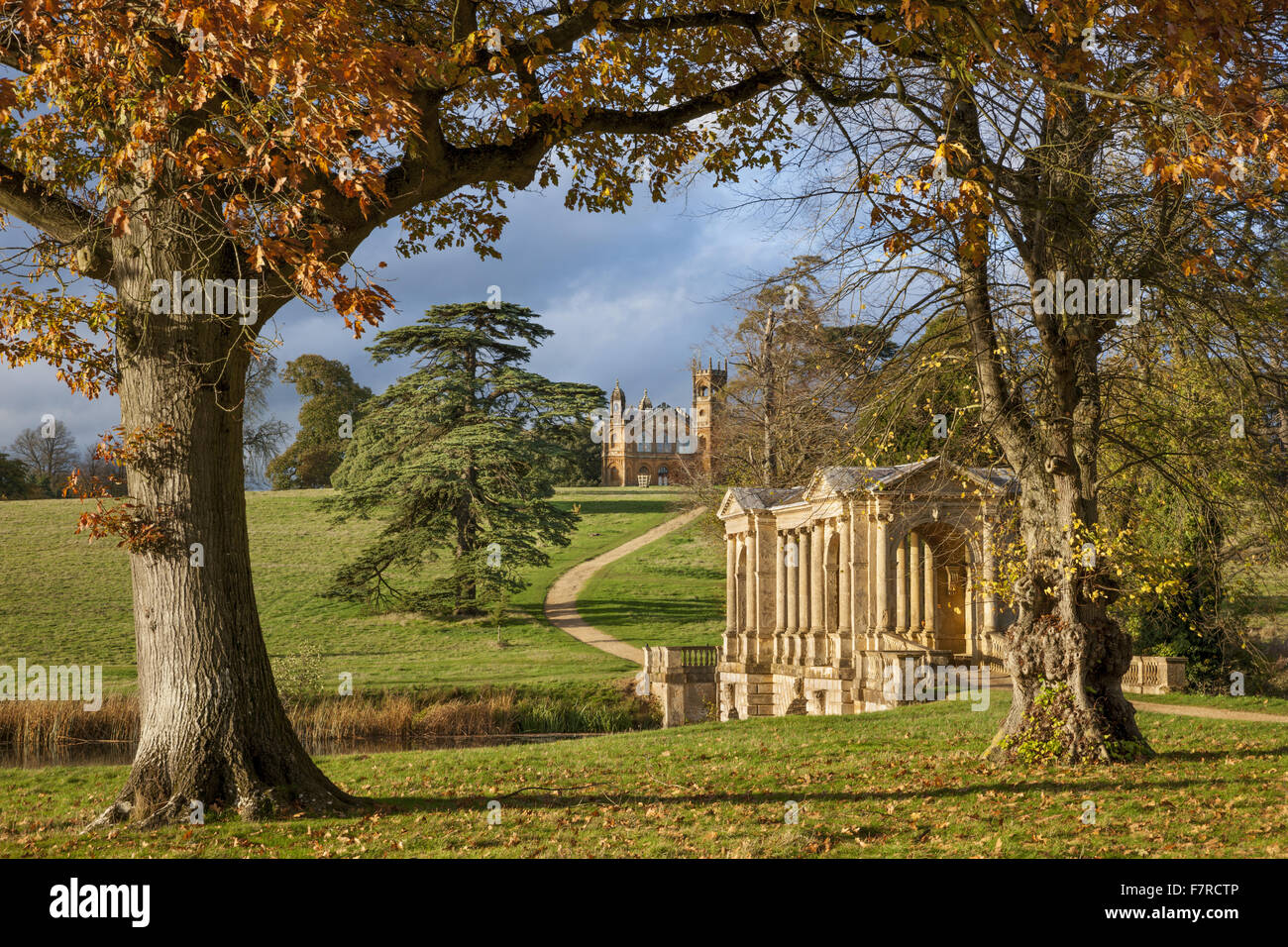 Stock Photo   The Palladian Bridge And Gothic Temple At Stowe,  Buckinghamshire. Stowe Is An 18th Century Landscaped Garden, And Includes  More Than 40 ...