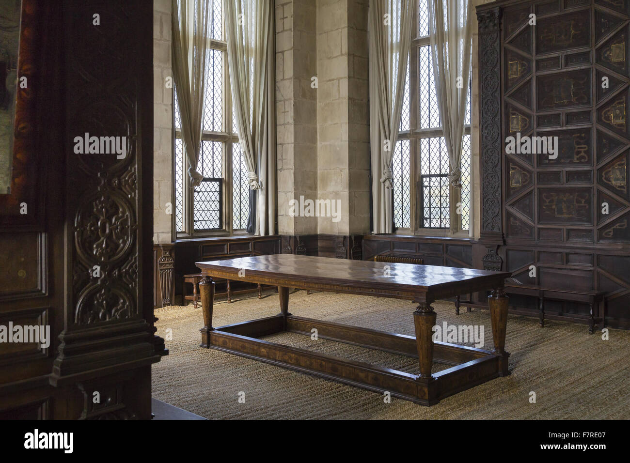 Furniture And Panelled Walls In The High Great Chamber, Hardwick Hall,  Derbyshire.