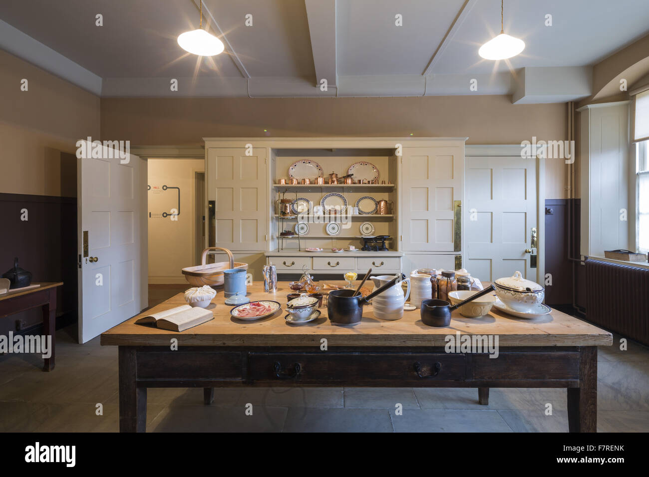 House And Garden Kitchens A Display Of Crockery And Other Objects On The Kitchen Table At