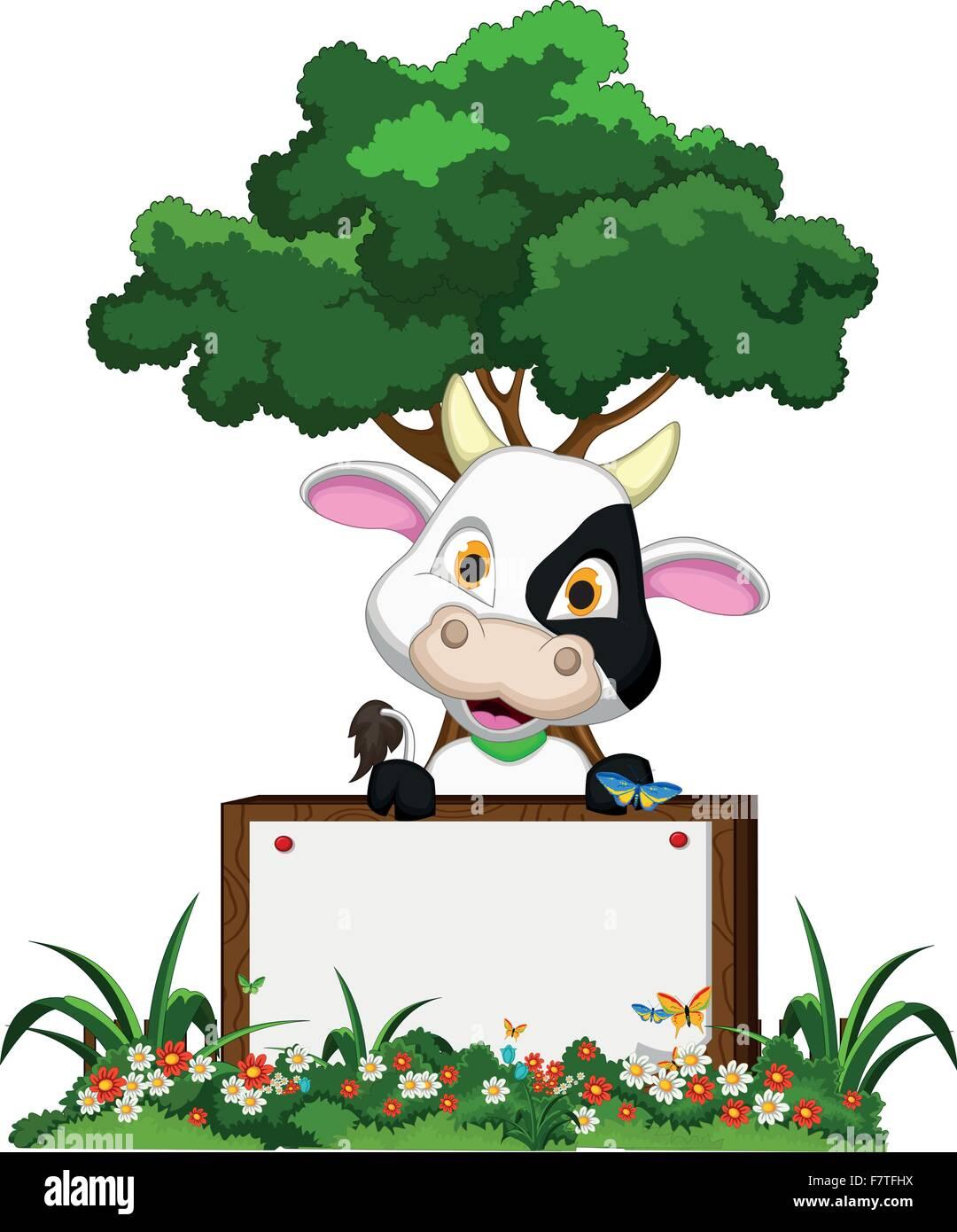 Flower garden cartoon - Cute Cow Cartoon On Flower Garden With Blank Board