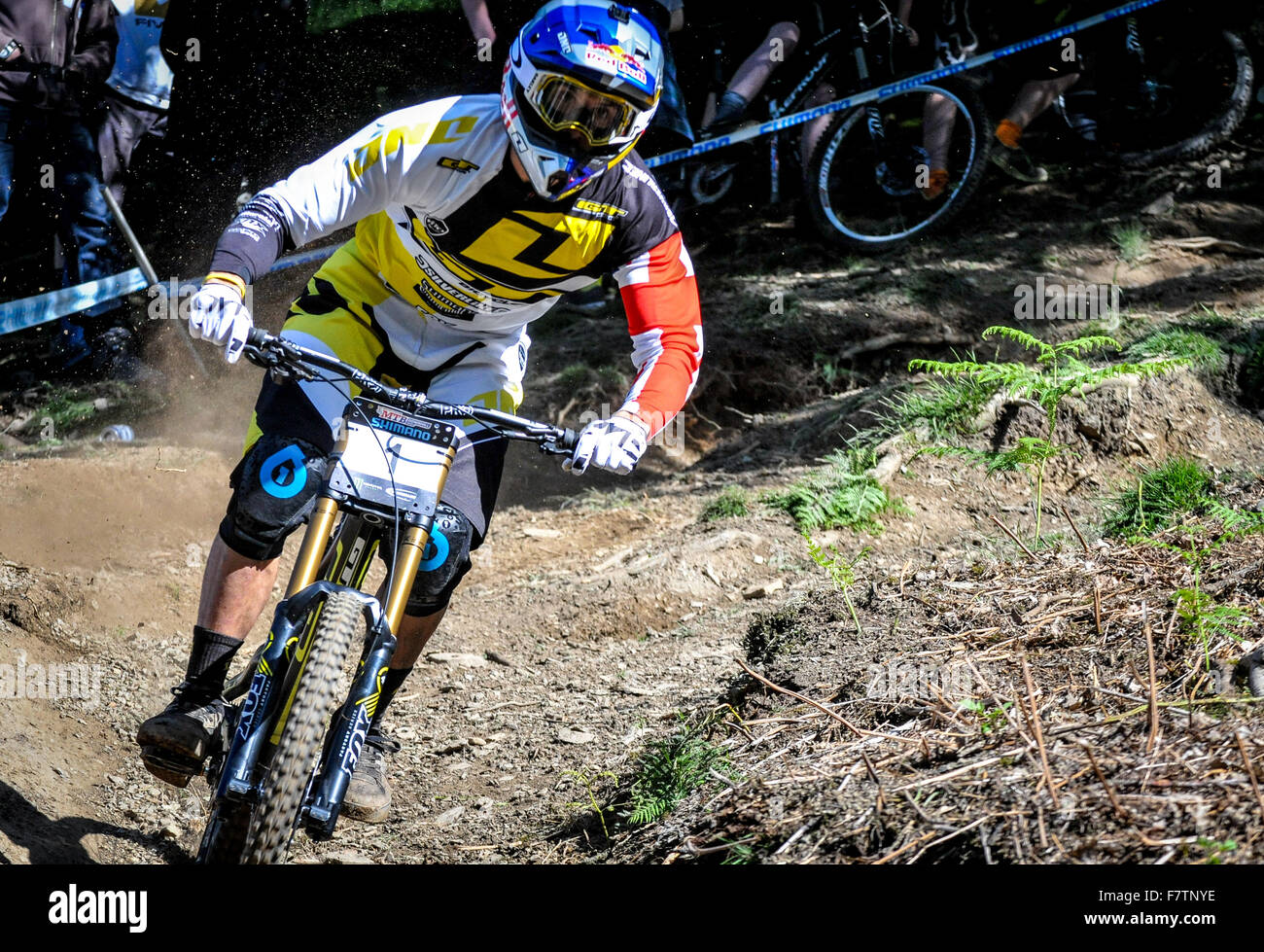 Gee Atherton Competitive Downhill Mountain Bike Race In The Uk