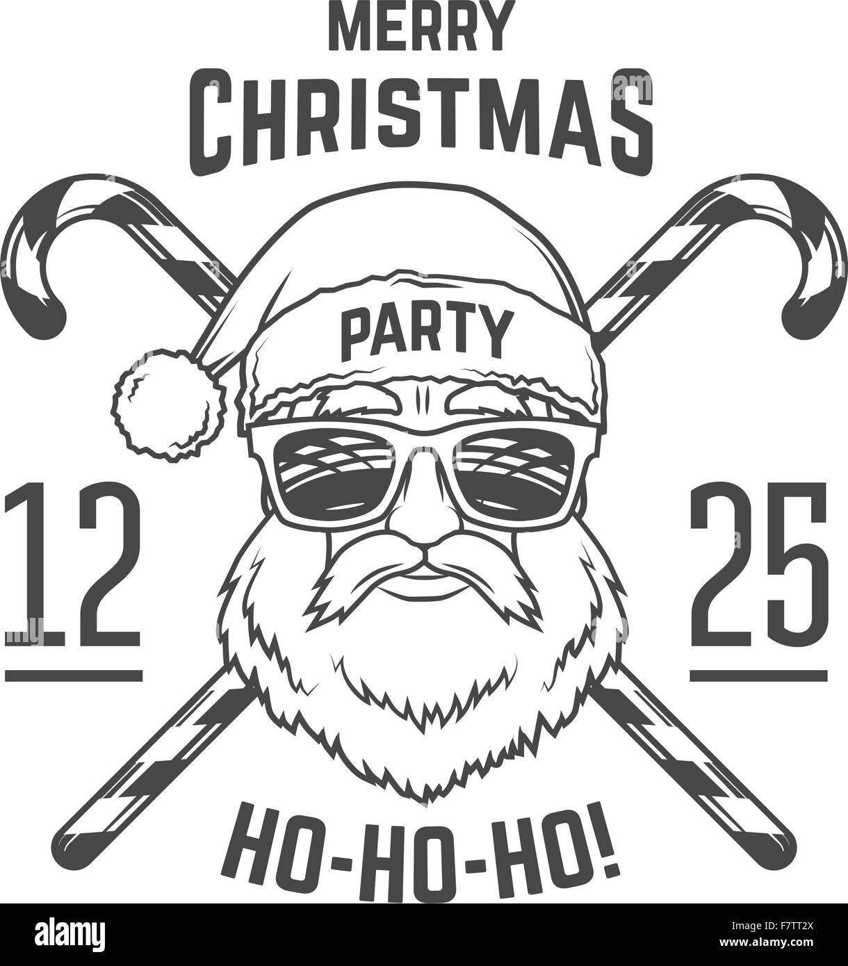 santa claus with hipster glasses and candy cones print design