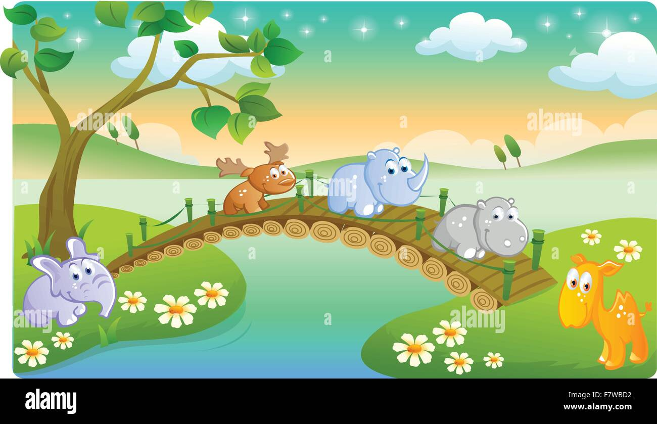 Cartoon Young Animals Playing With Beautiful Scenery Stock Vector