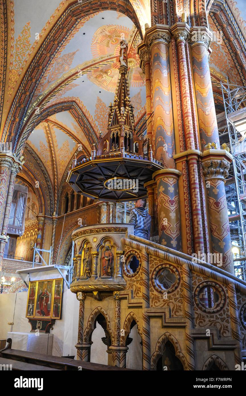 Interior Of Matyas Templom Budapest Hungary Stock Photo