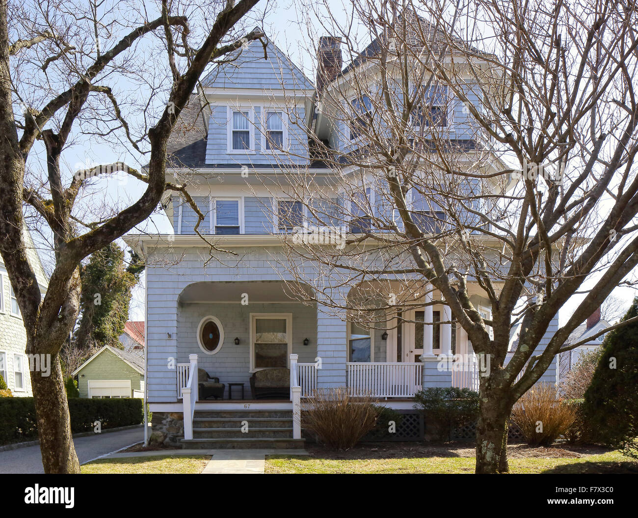 Front Elevation Of Houses In Usa : Front elevation queen anne victorian house larchmont