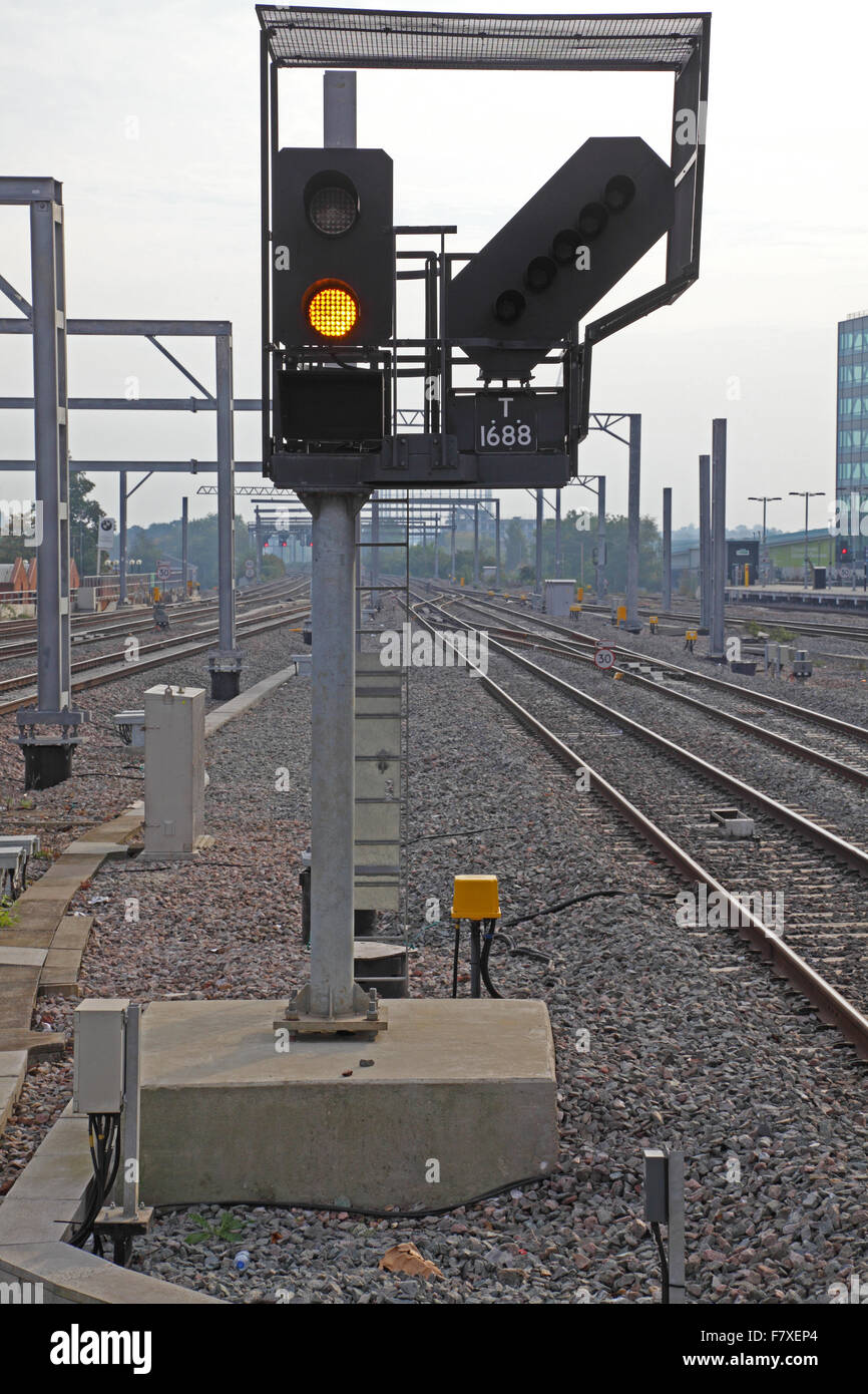 A New Led Train Signal Displaying A Yellow Proceed Aspect