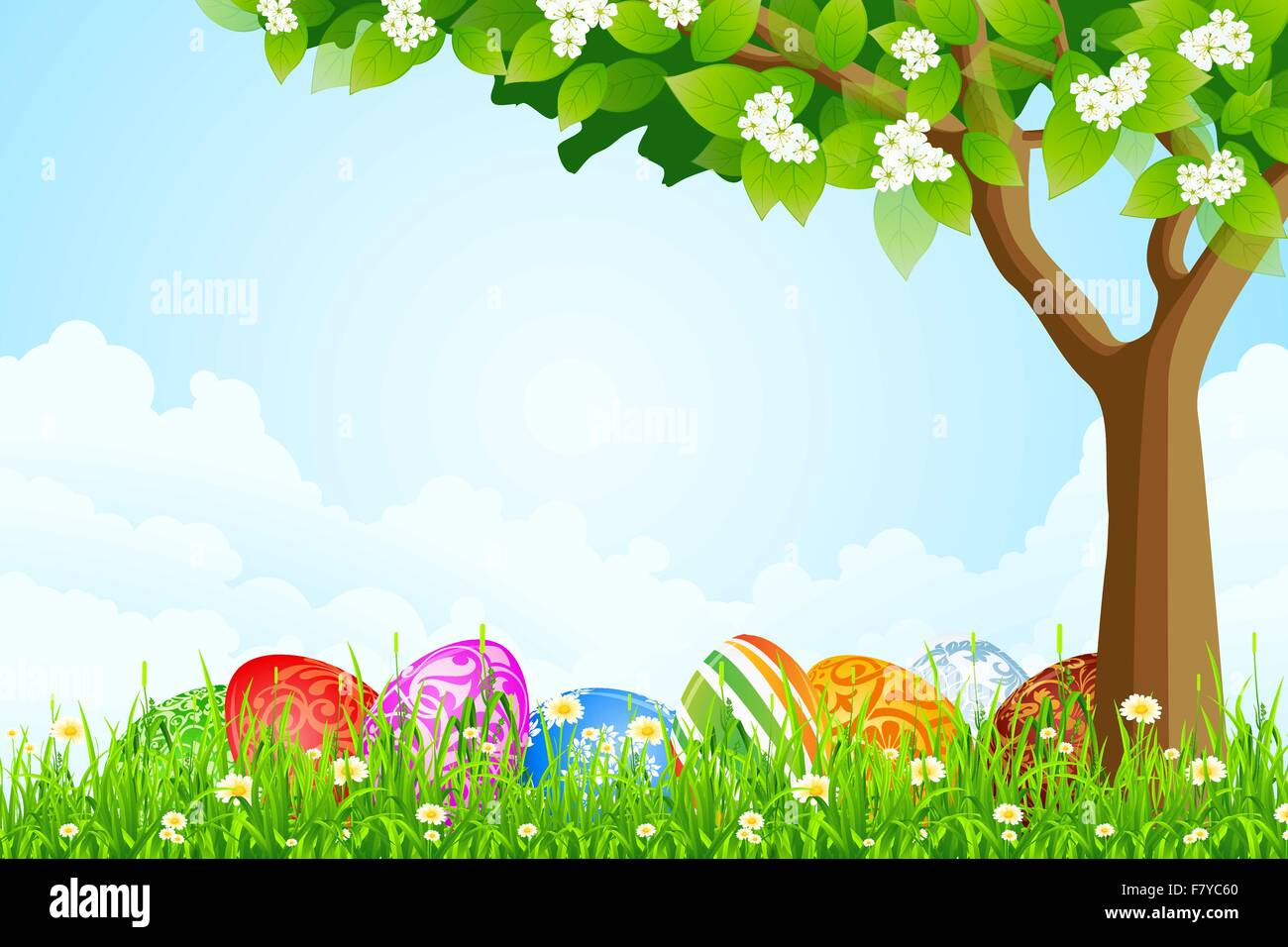 Green Tree Background With Easter Eggs Stock Vector Art