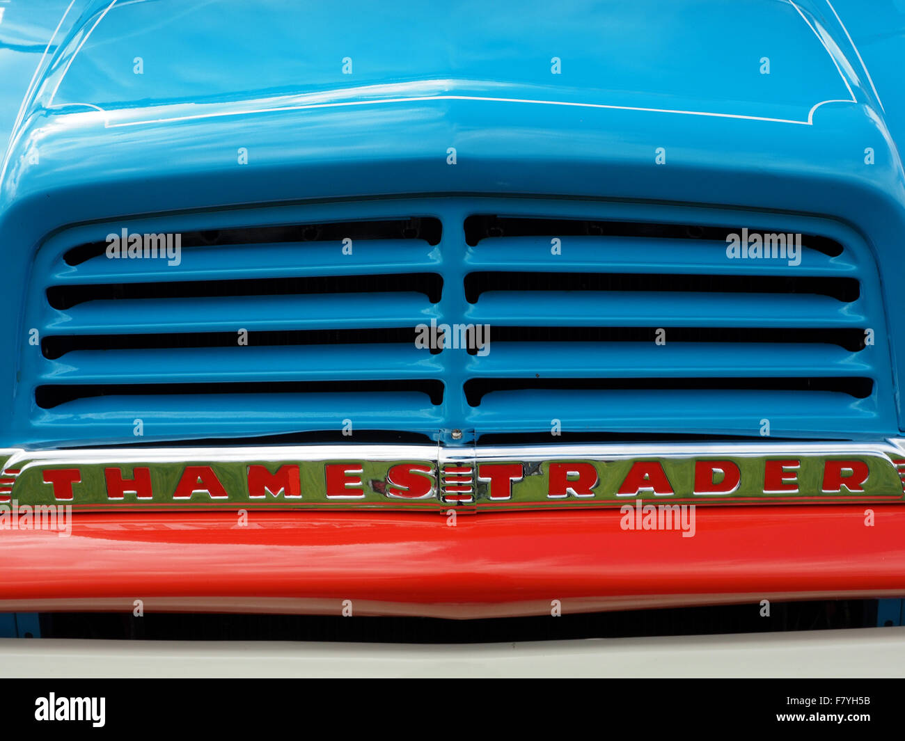 bright blue bonnet and grille of classic Thames Trader wagon with ...