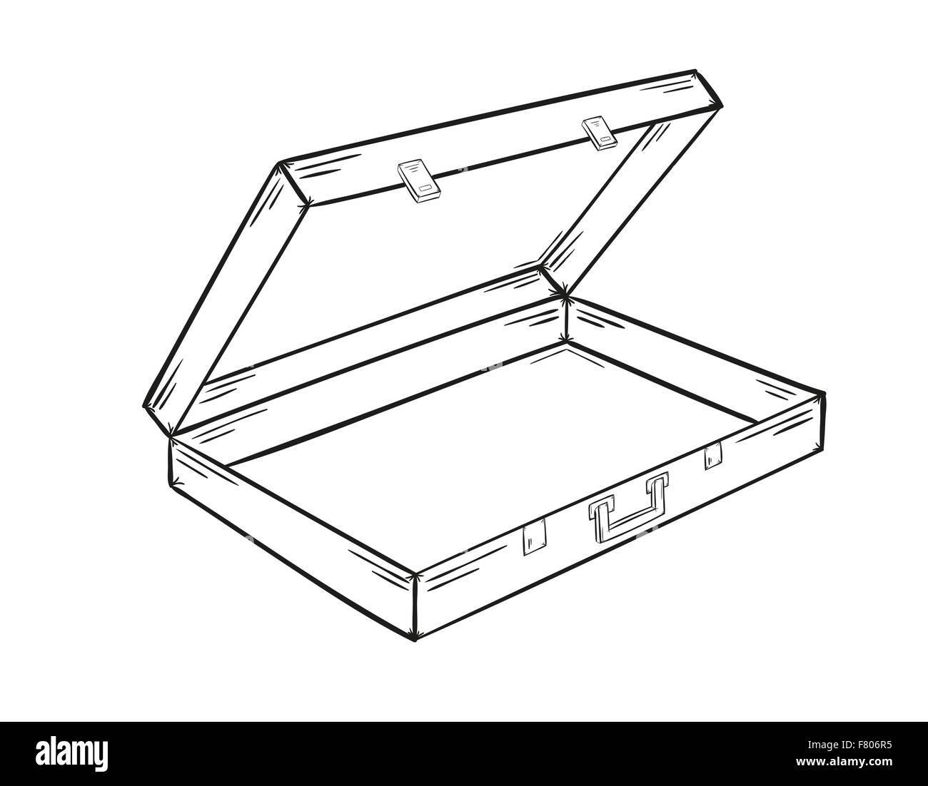 Open briefcase silhouette