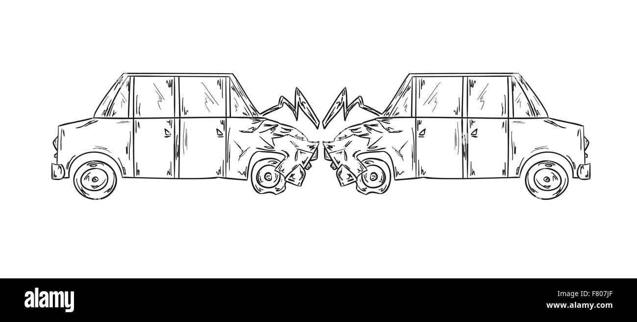 accident of two cars sketch Stock Vector Art & Illustration ...