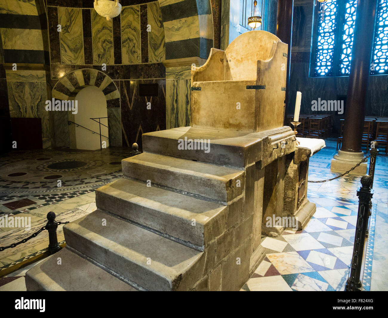 stock photo the throne of charlemagne in the aachen aix la chapelle cathedral aix la chapelle cathedral