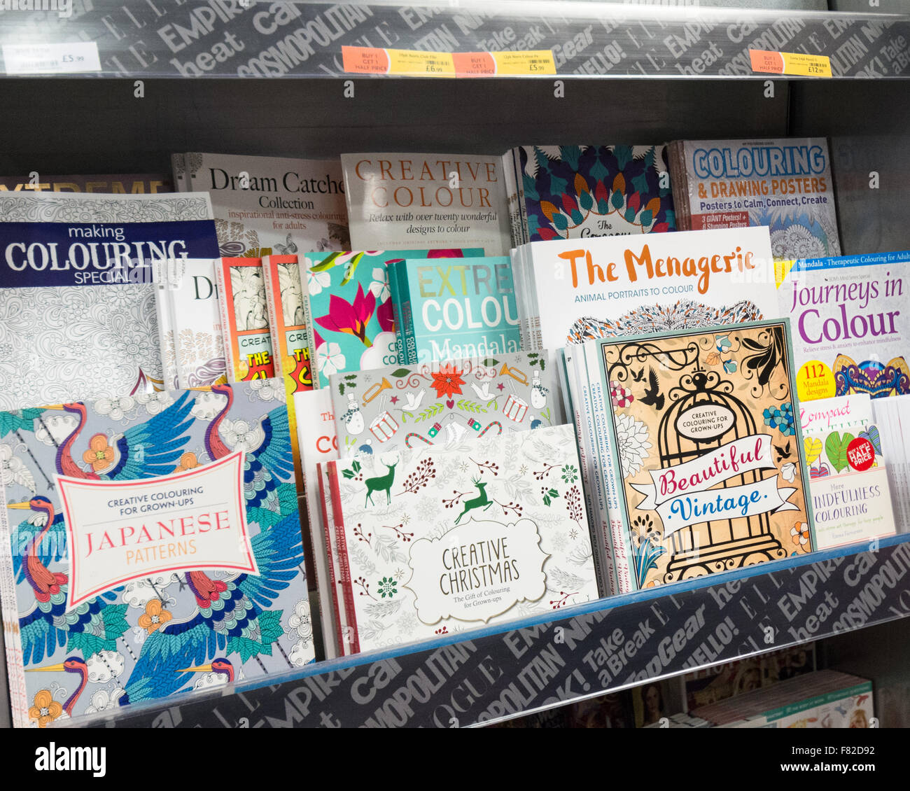 adult colouring coloring books on sale in wh smith edinburgh waverley station edinburgh scotland uk - Coloring Book Paper Stock