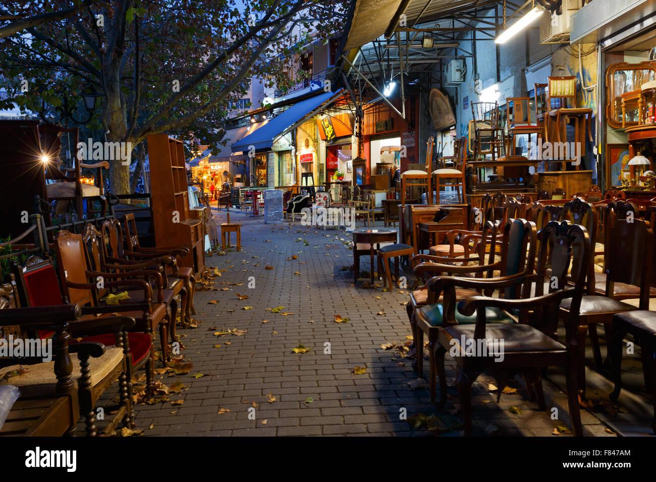 Antique furniture shop in the flea market in the Monastiraki area in Plaka,  Athens - Antique Furniture Shop In The Flea Market In The Monastiraki Area
