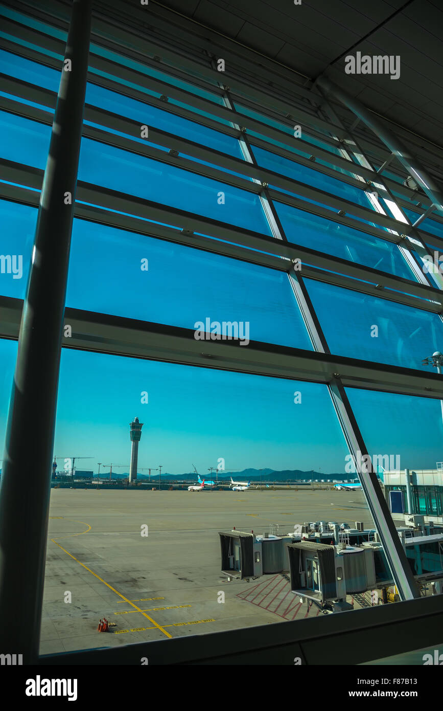 See Through Glass See Through Glass Window From Air Port Lounge View Stock Photo