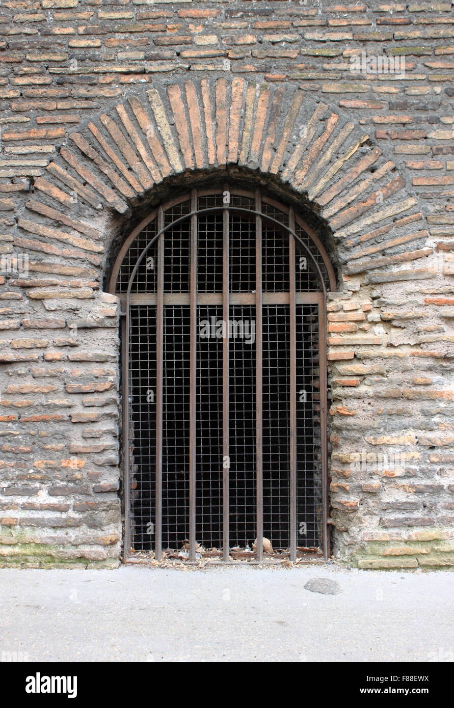 Closing Doors F : Closed door a prison with bars stock photo royalty free