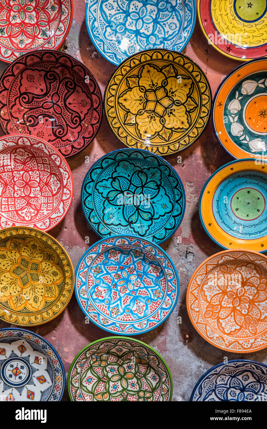 Ceramic bowls and plates souvenirs in bukhara uzbekistan stock traditional ceramic moroccan bowls for sale in the souk in marrakesh stock photo reviewsmspy