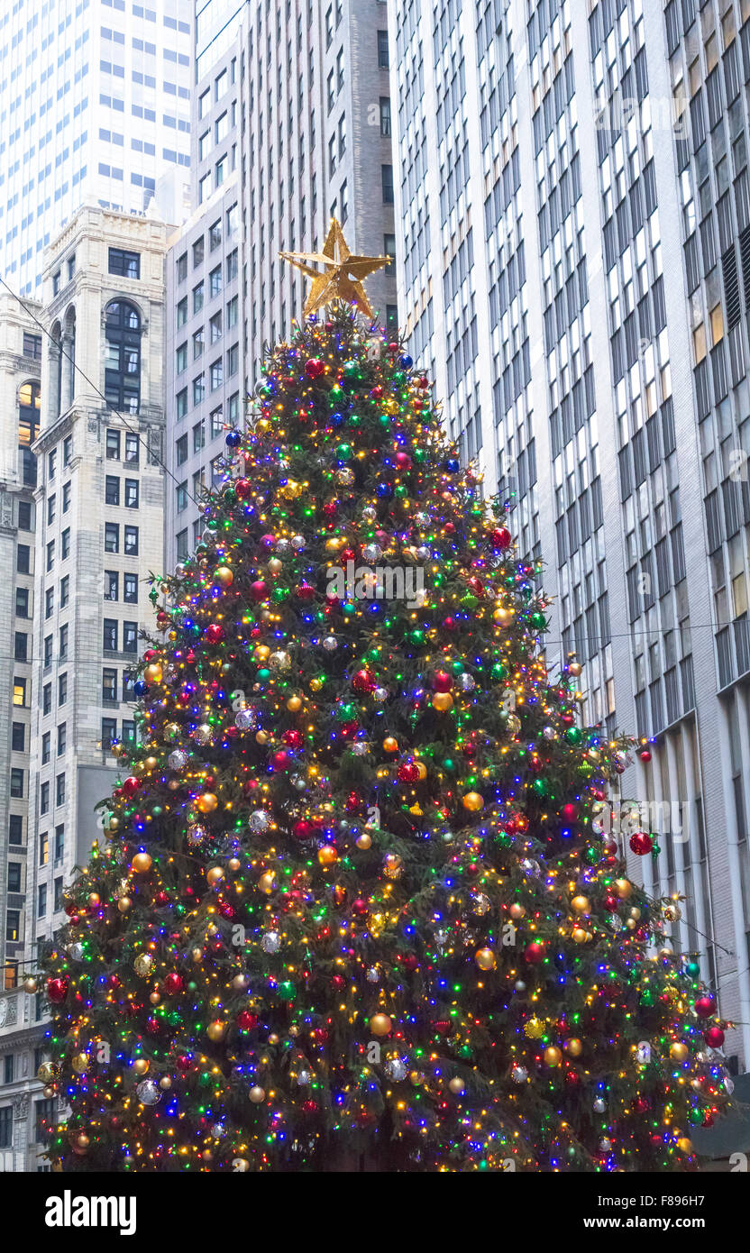 Christmas tree in front of the New York Stock Exchange in the