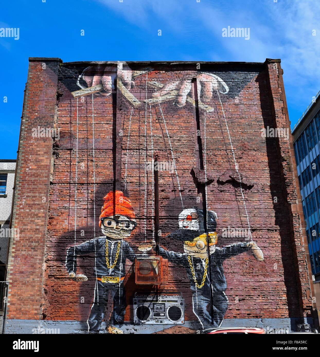 Graffiti mural on gable end of building in john street in for Graffiti mural
