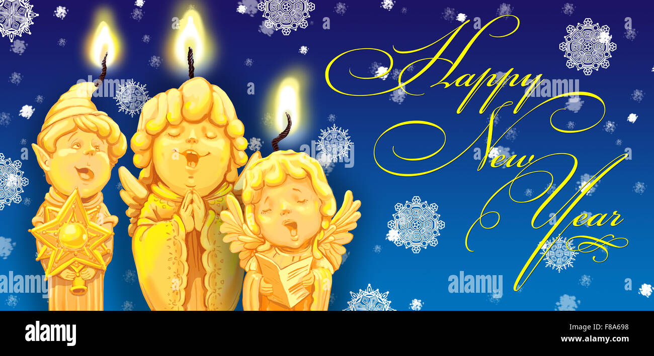 magical christmas andle in a candlestick greeting card happy new year raster illustration