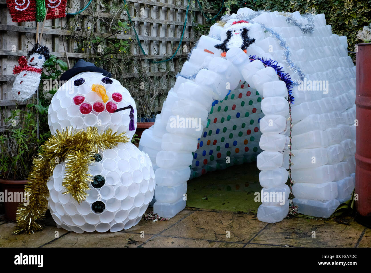 Christmas garden igloo and snowman decorations made from plastic milk - Christmas Garden Igloo And Snowman Decoration Made From