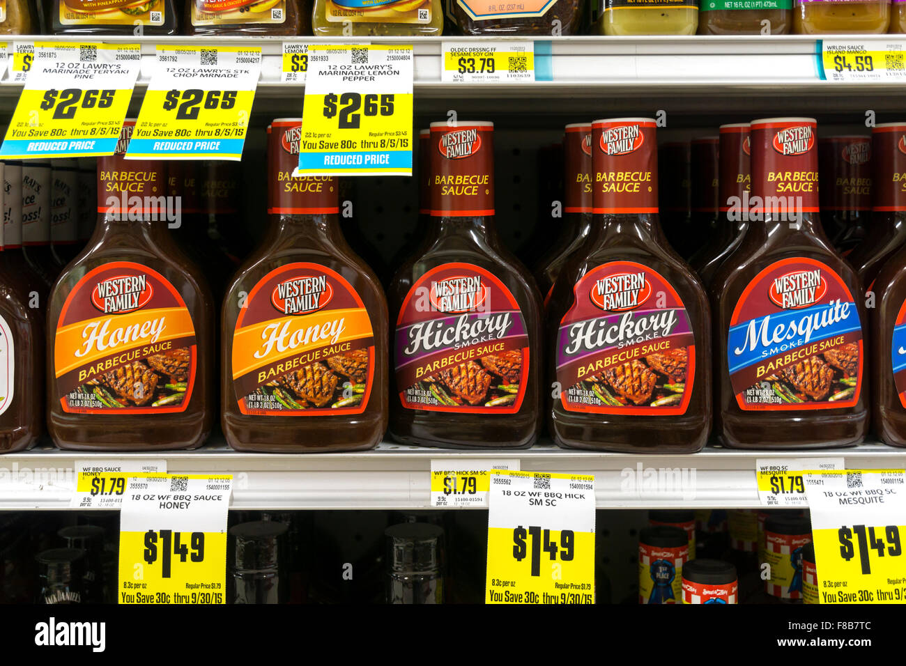 Good Barbecue Sauce For Sale Part - 13: Bottles Of Barbecue Sauce For Sale On Shelves Of A Western Family  Supermarket In Montana, USA