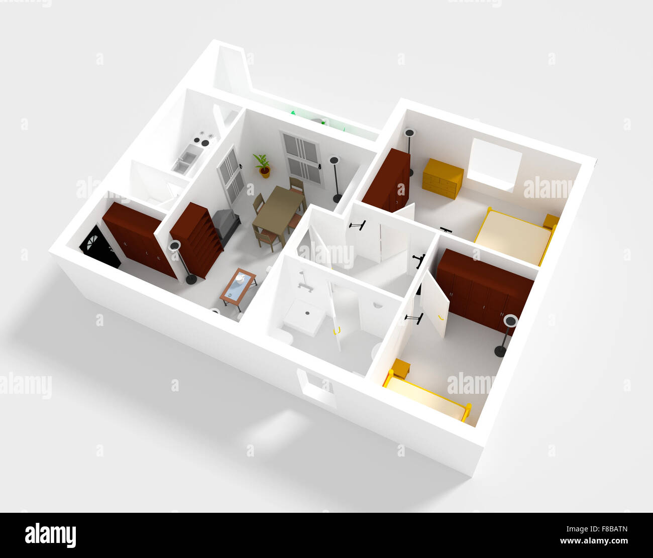 Small Flat Plan 3d rendering of small flat with walls and furniture stock photo