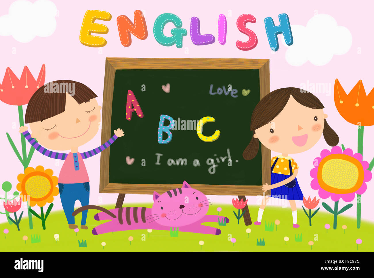 Worksheet Alphabet Sentence boy and gilr with english alphabet letters sentence on blackboard a cat flower against clouds