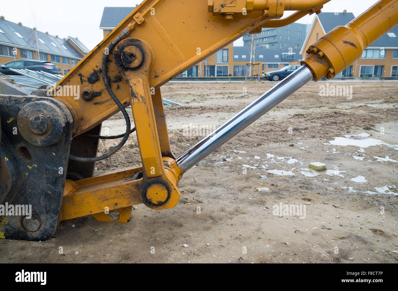 closeup of a piston of an excavator stock photo royalty free