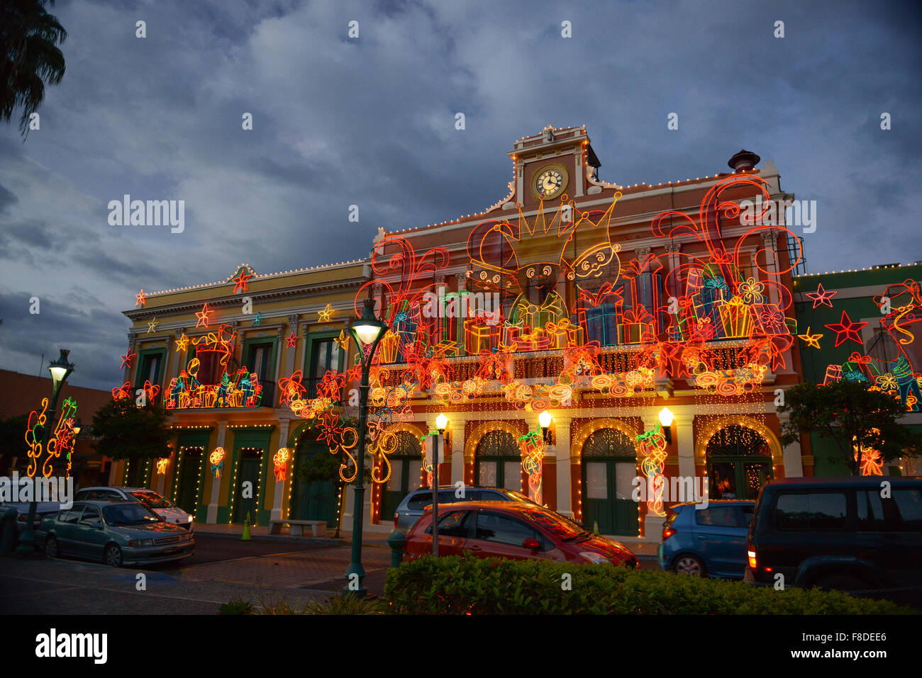 City hall christmas light decoration at the plaza of juana diaz city hall christmas light decoration at the plaza of juana diaz puerto rico caribbean island usa territory biocorpaavc Choice Image