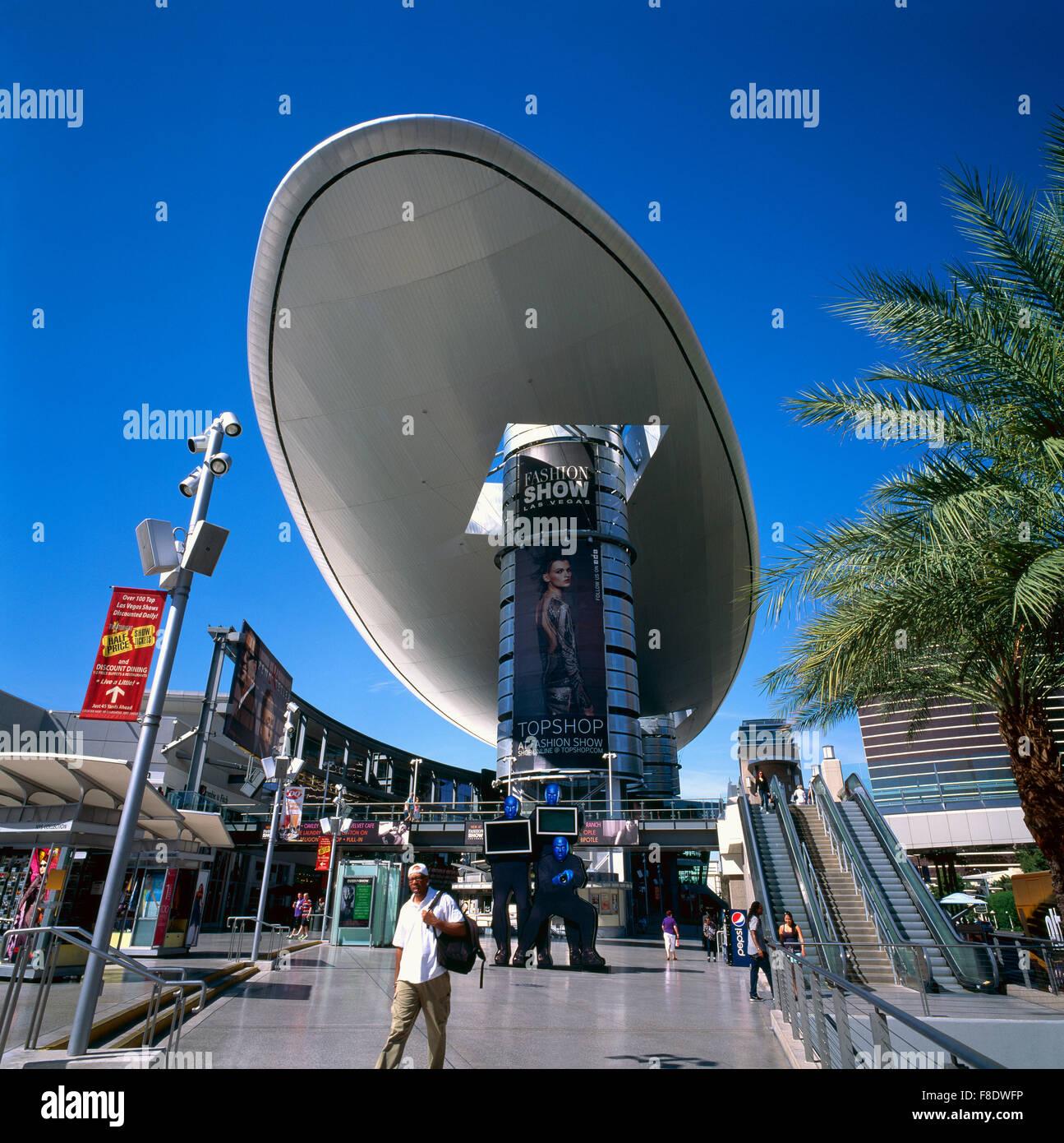 Las Vegas Nevada USA - Fashion Show Mall along The Strip (Las Vegas Boulevard) - Oval-shaped Canopy known as The Cloud & Las Vegas Nevada USA - Fashion Show Mall along The Strip (Las ...