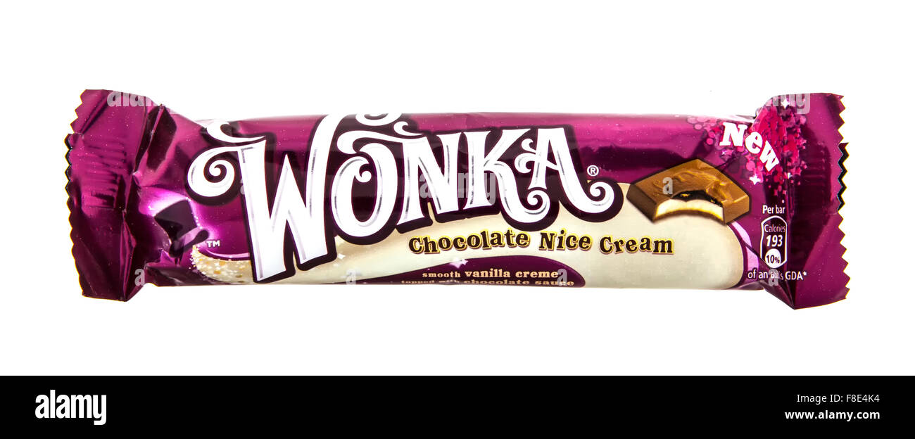 Wonka Chocolate Nice Cream flavoured chocolate bar on white Stock ...