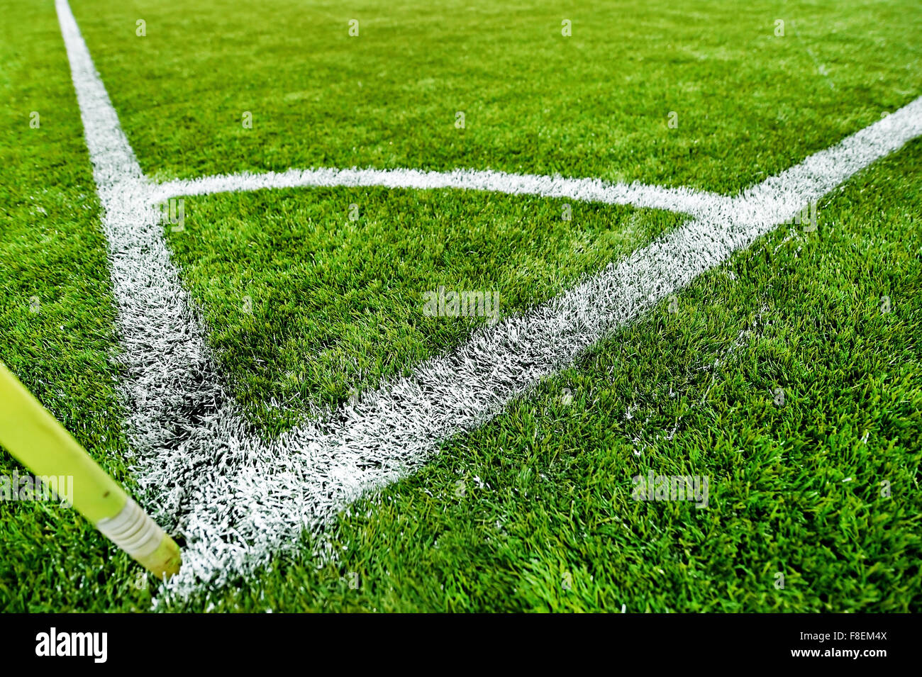 green grass soccer field. Closeup Shot With A Fresh Painted Sideline On Turf Soccer Field Green Grass 7
