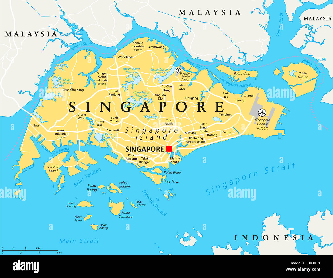 Singapore Island Political Map With Capital Singapore National - Singapore map