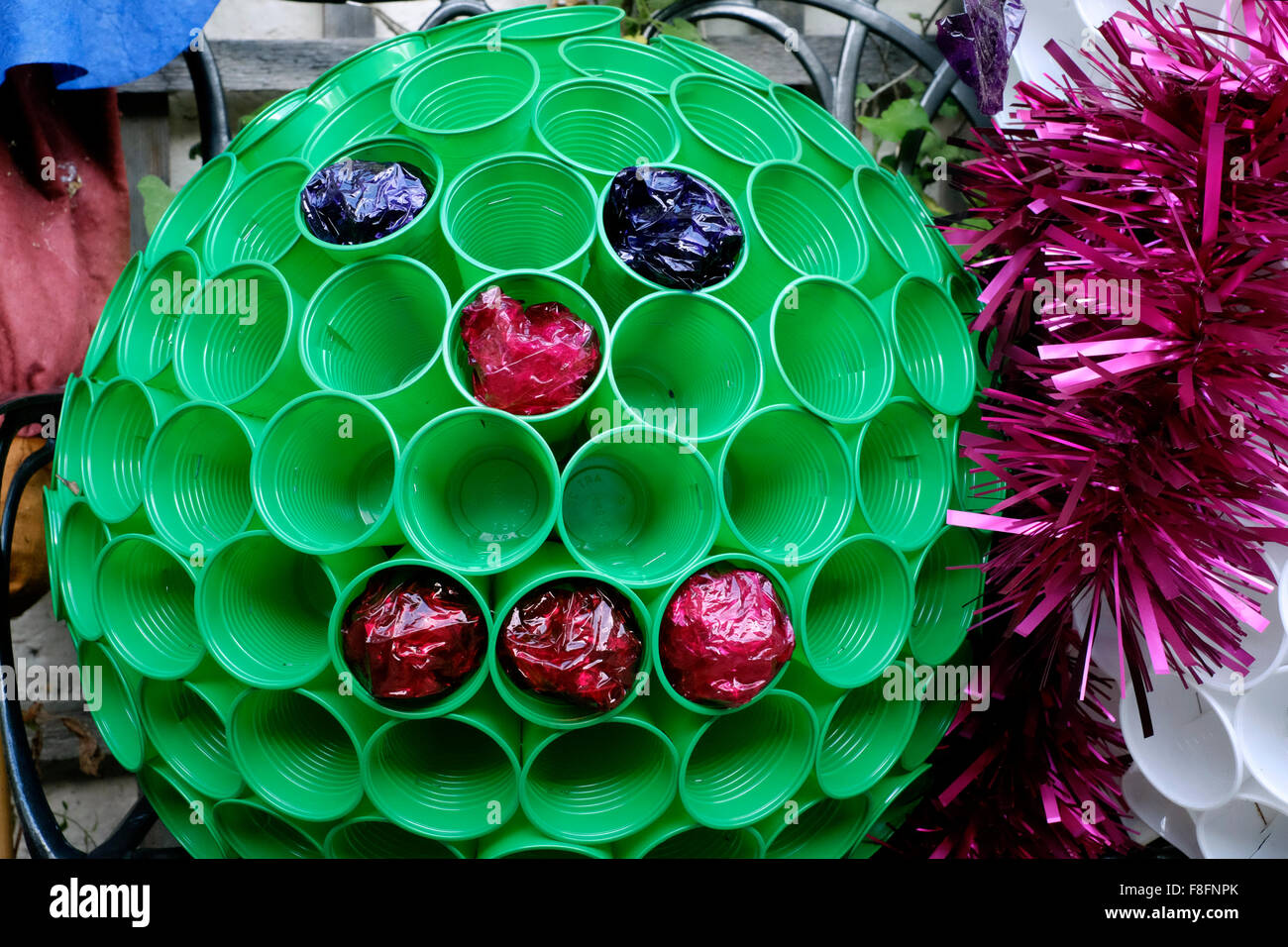 Decorating Plastic Tumblers Christmas Garden Brussel Sprout Decoration Made From Plastic Cups
