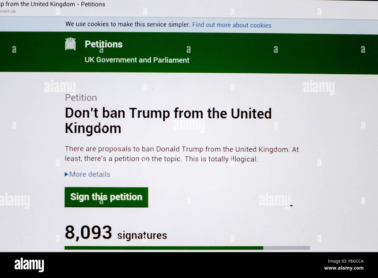 UK. 10th December, 2015. An online petition to the UK Government ...