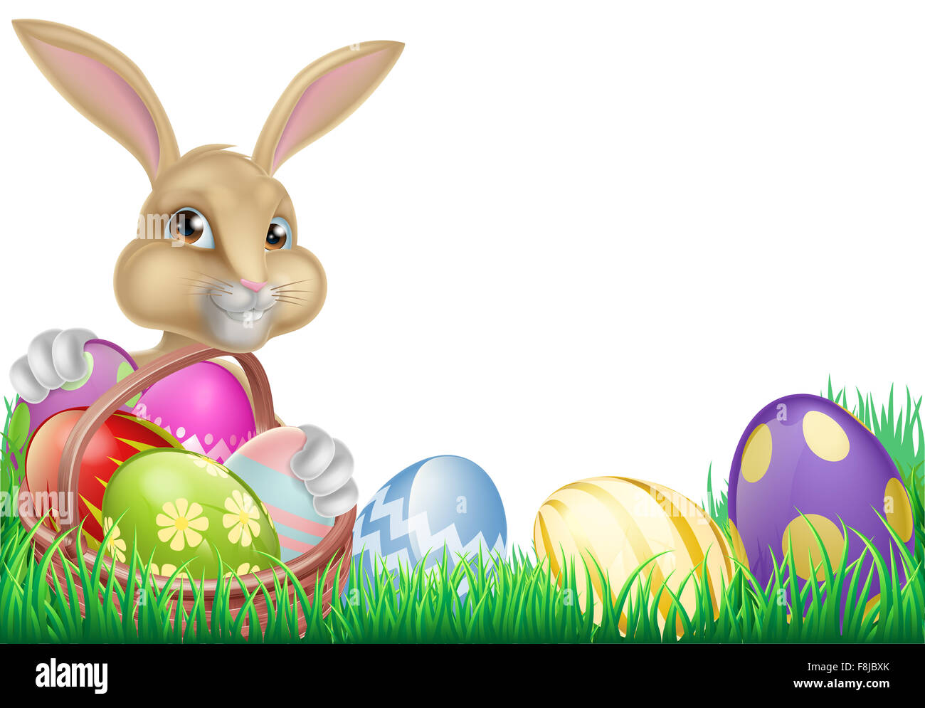 cartoon easter bunny with a basket full of chocolate easter eggs
