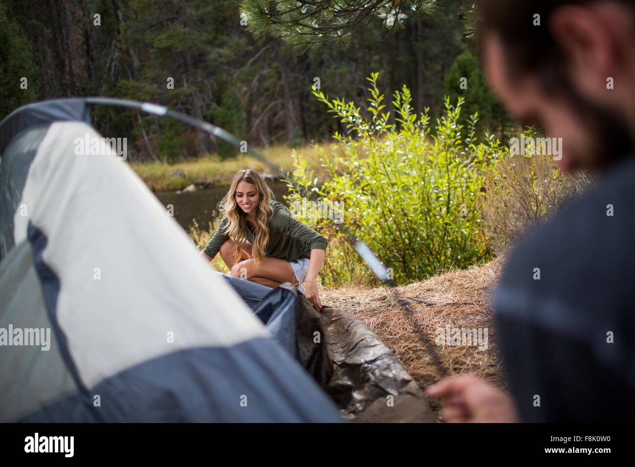 Young couple putting up tent on riverside Lake Tahoe Nevada USA  sc 1 st  Alamy & Young couple putting up tent on riverside Lake Tahoe Nevada USA ...